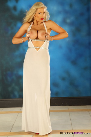 Gorgeous Rebecca looks so glamorous in her long white dress
